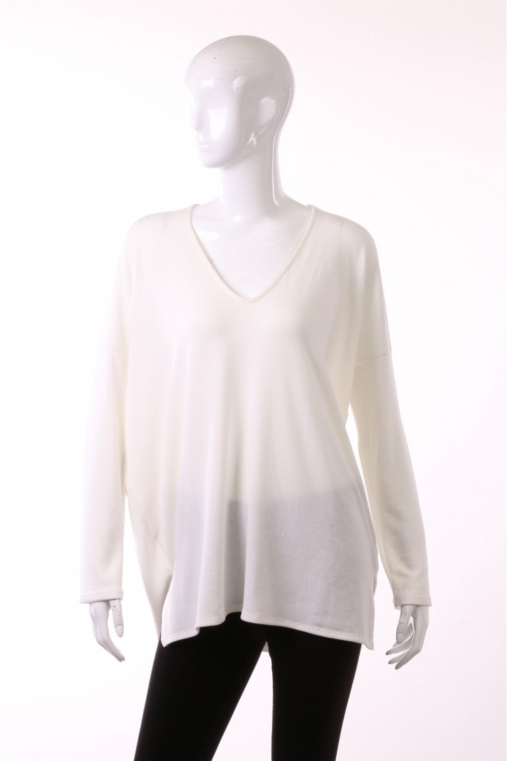 Off White Heavy Hacci L/S V-Neck with wide slit top