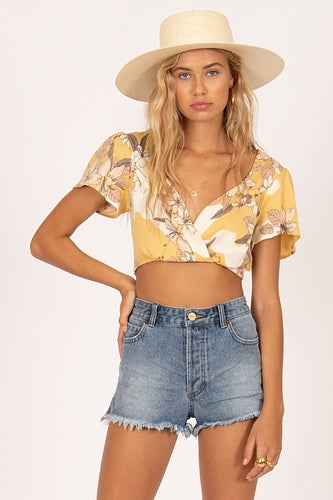 Amuse Beach Baby Woven Top, S/S Crop - Ginger