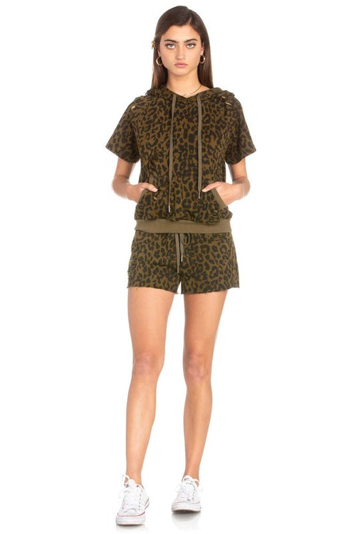 Distressed Olive Leopard Shorts with drawstring ties and unfinished hem