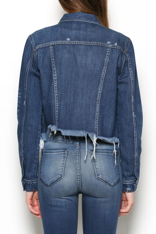 "Hidden ""Rebel"" Regular Fitted Jacket w/Uneven Fray Waist, Dark Blue Wash - Ella J Boutique"