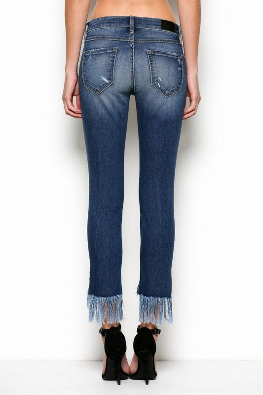 "Hidden ""Amelia"" Skinny w/ Fringe Step Hem, Medium Blue Wash - Ella J Boutique"