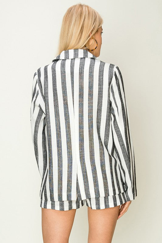 Black Stripe Light Weight Blazer - Ella J Boutique