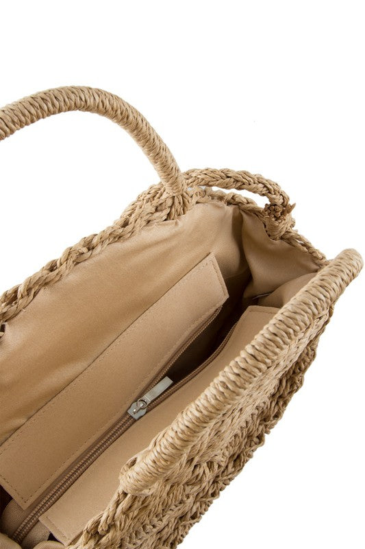 Handmade Circle Straw Beach Handbag - Ella J Boutique