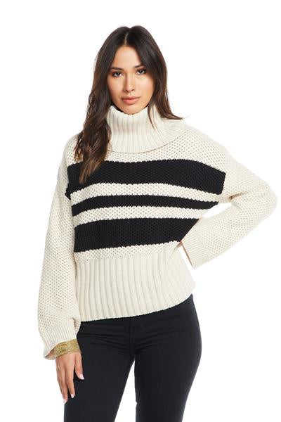 Chaser Striped Turtleneck Bell Sleeve Sweater - Natural