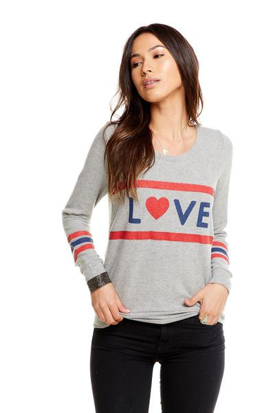 Chaser Love Stripes Love Knit Triangle Open Back L/S Pullover - Heather Grey