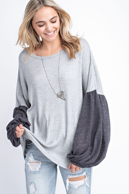 Loose Fit Bubble Sleeves Waffle Top - Heather Grey