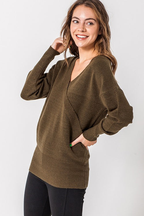 Deep Olive V Neck Wrap Front L/S Sweater