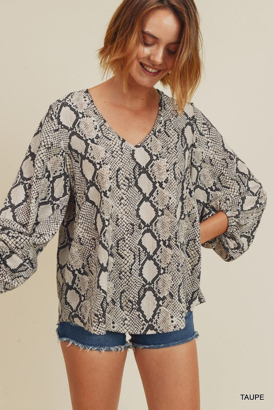 Taupe Snake Draped Bubble Sleeves Top
