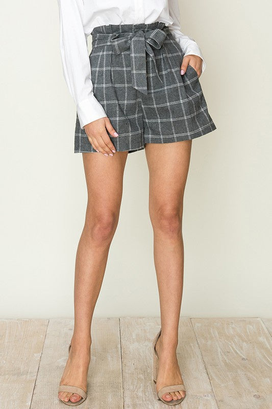 Grey Grid Plaid Paper Bag Waist Shorts with Waist Tie