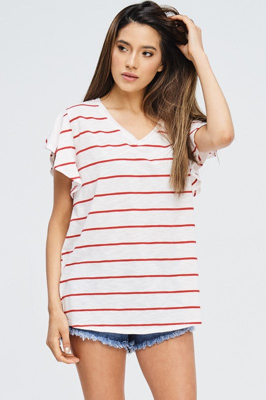 Red Stripe Ruffle Sleeve Top - Ella J Boutique