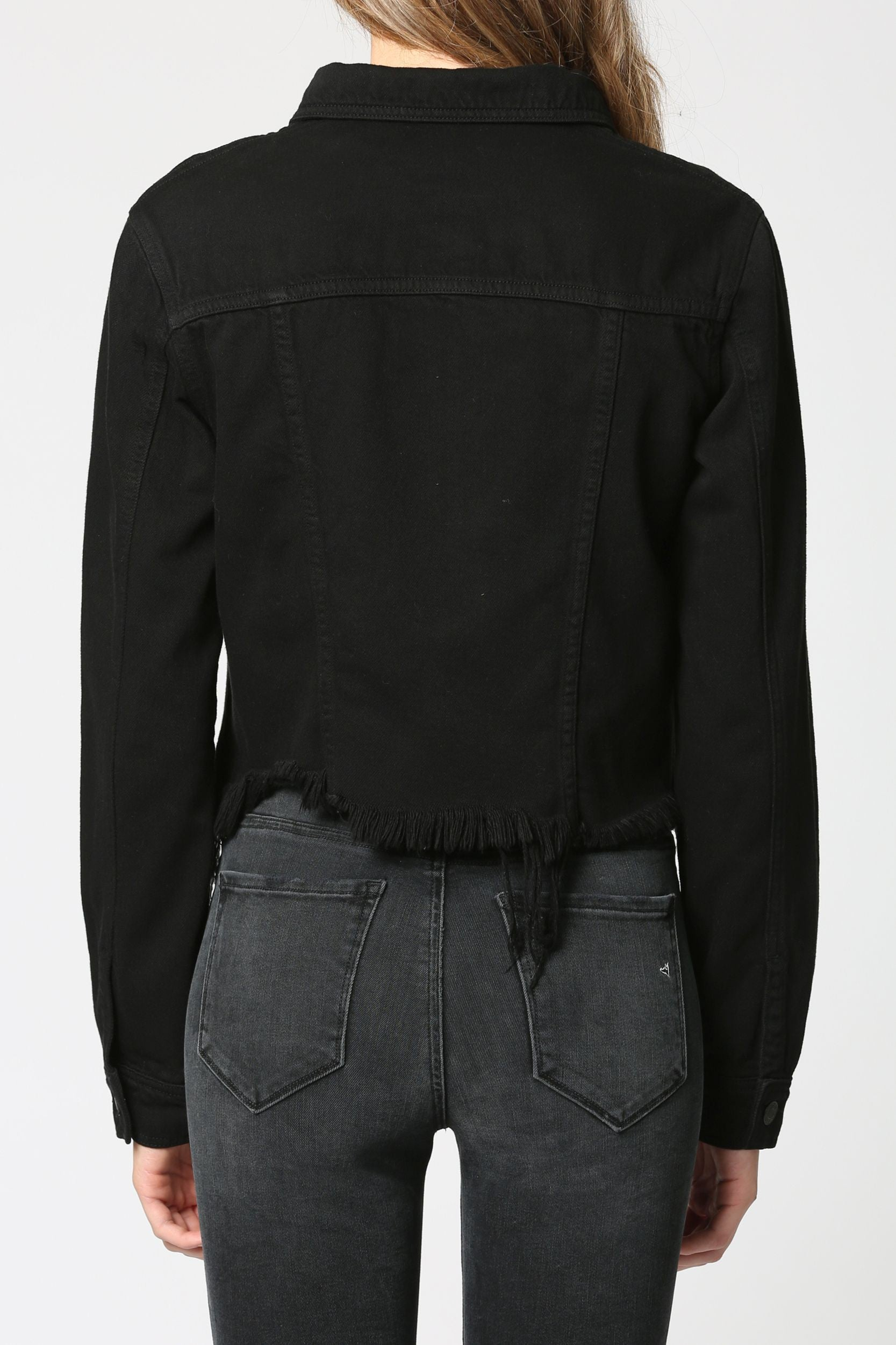 Hidden Cropped Fitted Jacket w/ Fray - Black