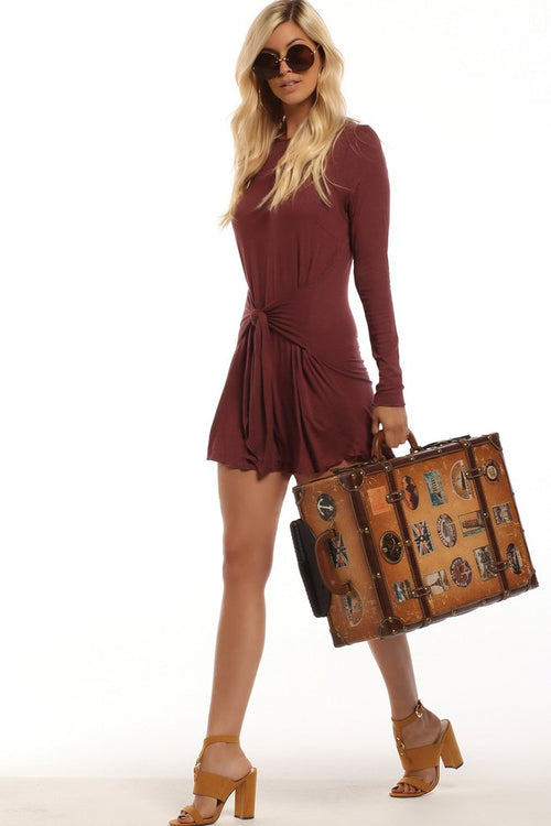 Lucy Love L/S Wrap It Up Dress - Paprika