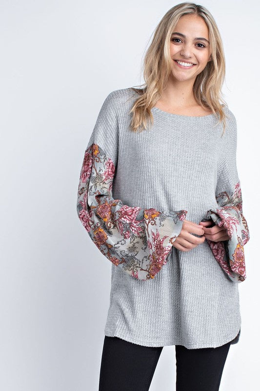Waffle Top, Floral contrast sleeves - Heather Grey