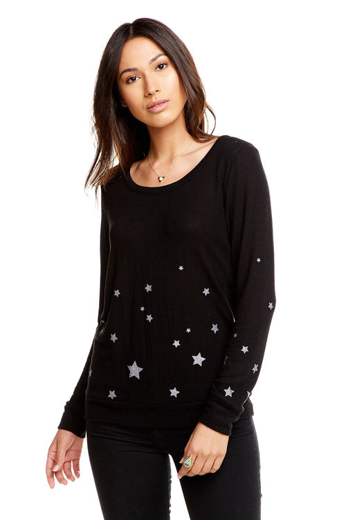 Chaser Starry Night Love Knit L/S Basic Pullover-True Black
