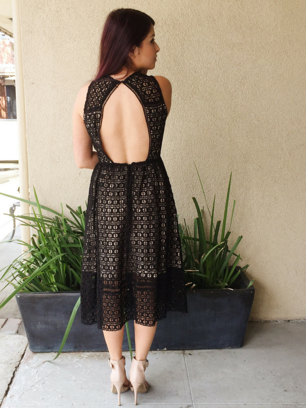 J.O.A. Black Open Back Lace Dress - Ella J Boutique