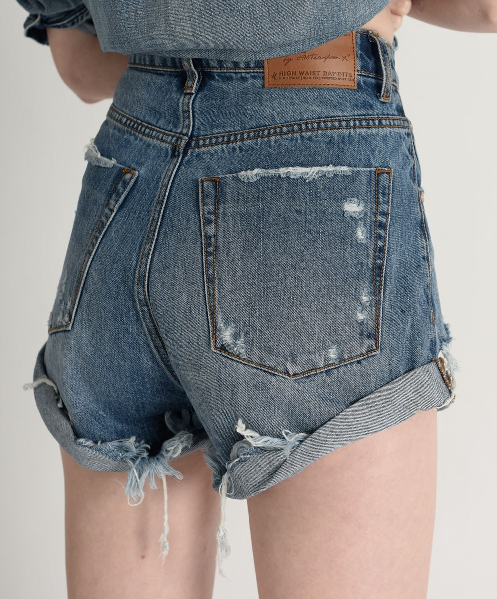 One Teaspoon Bandits High Waist Denim Shorts - Johnny Blue