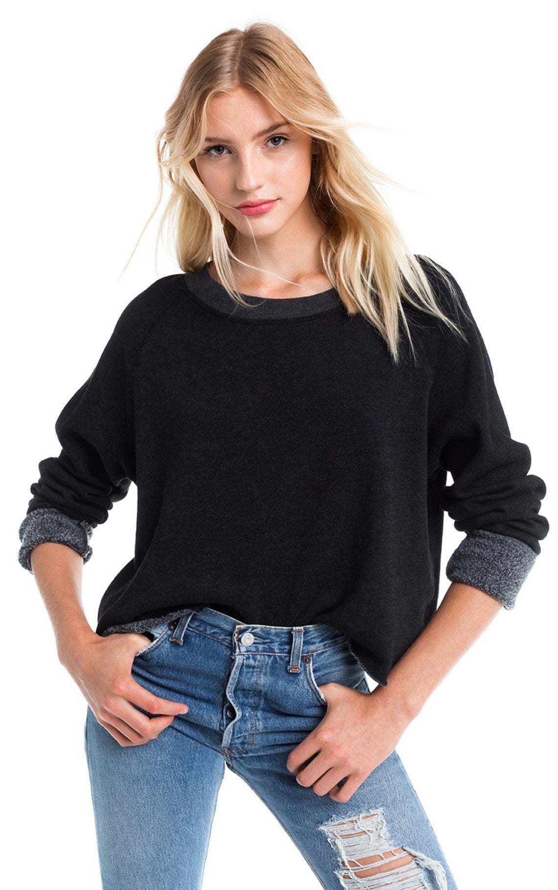 Wildfox Monte Crop Sweatshirt, Solid Black - Ella J Boutique