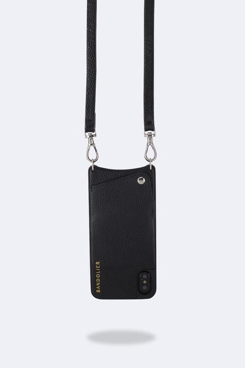 Emma Pebble Leather Crossbody Bandolier, iPhone Xs Max - Black/Silver
