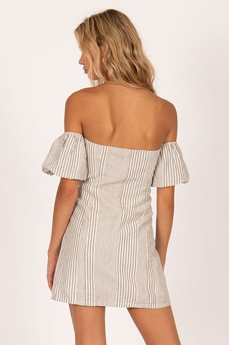 Amuse Island Skies Dress, Off Shoulder Woven - Grey Stripe - Ella J Boutique