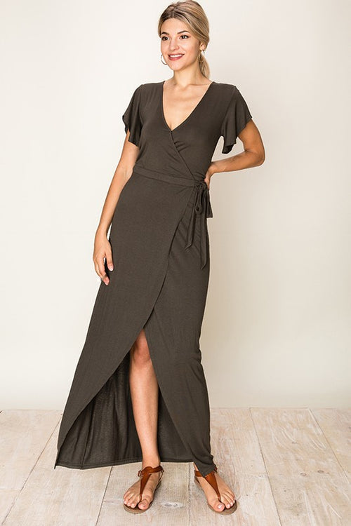 Olive Tie Wrap Midi Dress