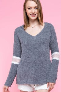 Pol Berber Fleece Pullover Sweater w/sleeve bands - Grey