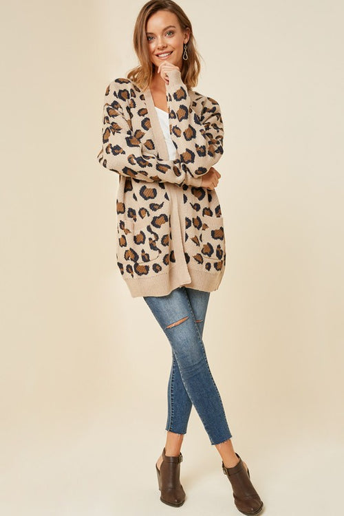 Tan Leopard Open Cardigan Sweater