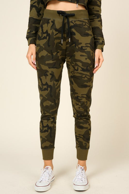 French Terry Drawstring Jogger - Camo