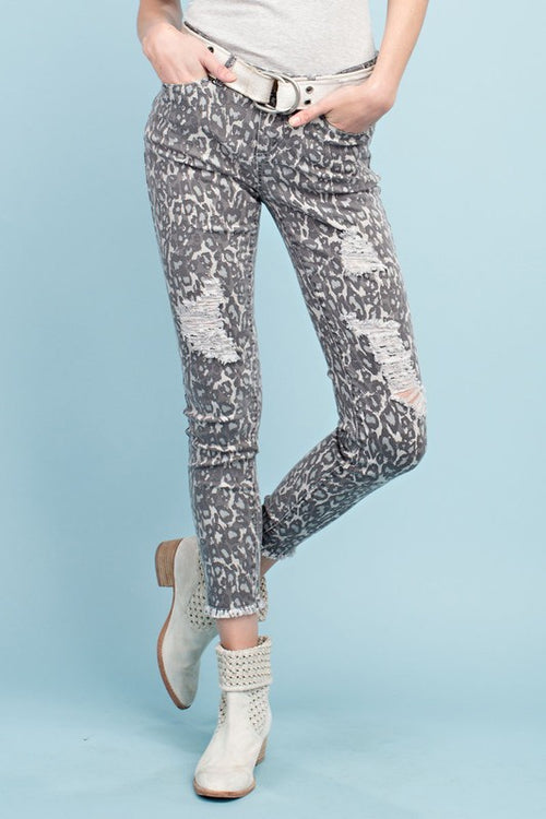 Easel Animal Print Distressed Ankle Stretch Pants - Grey