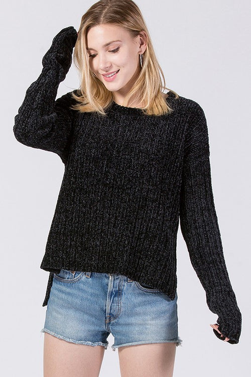 Dolman L/S Chenille Sweater - Black