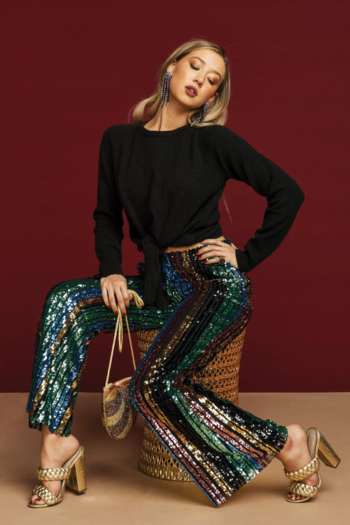 Show Me Your Mumu Leigh Pants - Cocktail Stripe Sequins