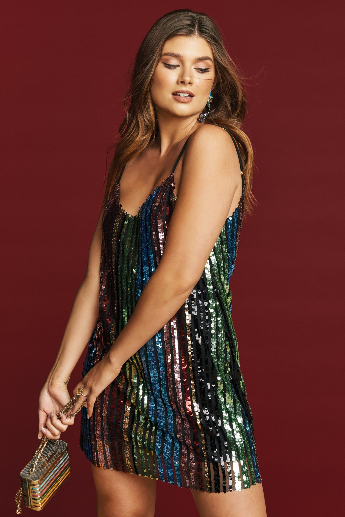 Show Me Your Mumu Vivian Slip dress - Cocktail Stripe Sequins