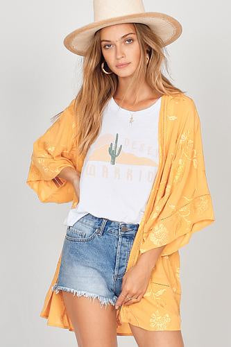 Amuse Poolside Dreams Kimono, Honey - Ella J Boutique
