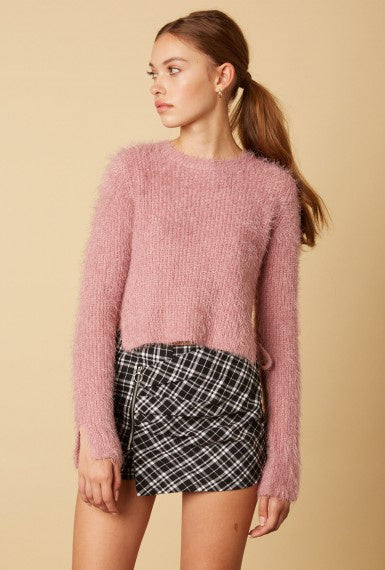 Cotton Candy Fuzzy Sweater with Side Slit & Tie - Pink - Ella J Boutique