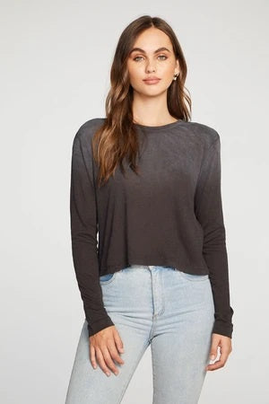 Chaser Cloud Jersey Bold Shoulder L/S Crew Neck Tee, Faded Black