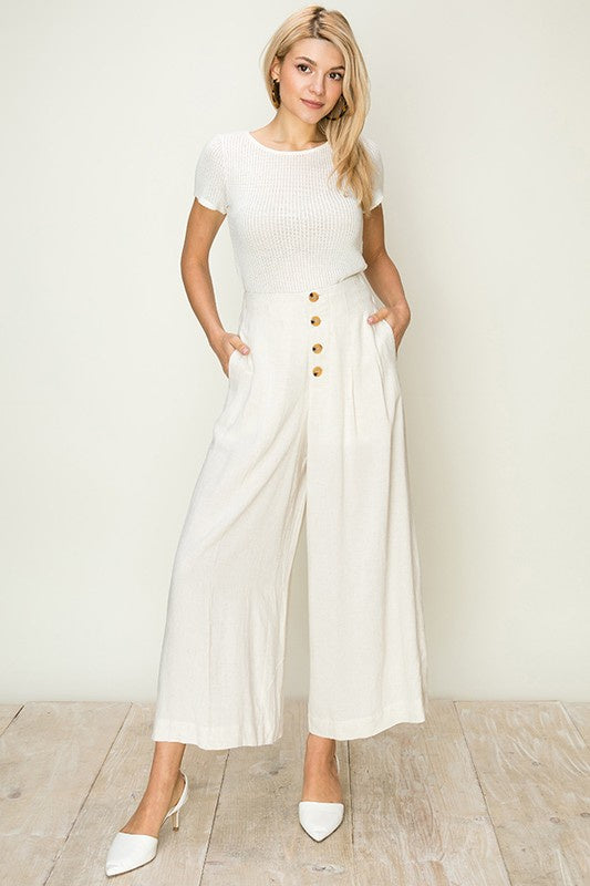 Oatmeal Button Front Wide Leg Ankle Pants