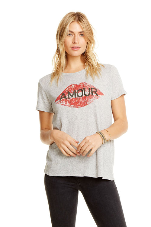 Chaser Amour Easy Tee - Heather Grey Cotton Jersey Crew Neck