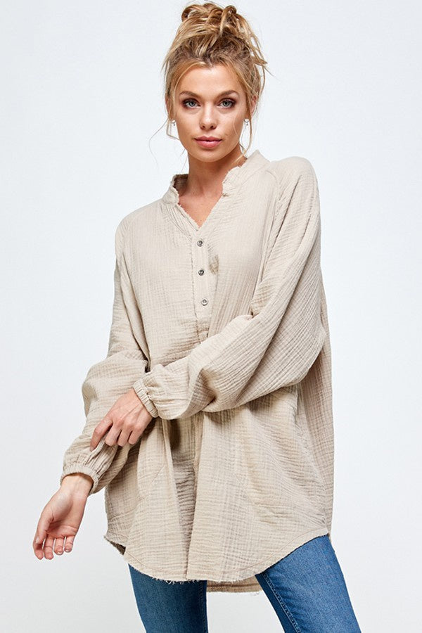 Taupe Gauze Button Down Tunic