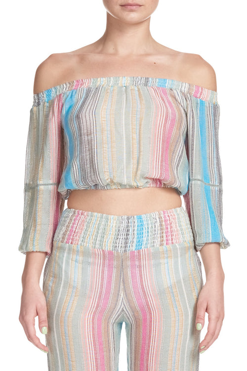 Elan Multi Stripe 3/4 Sleeve Crop Top