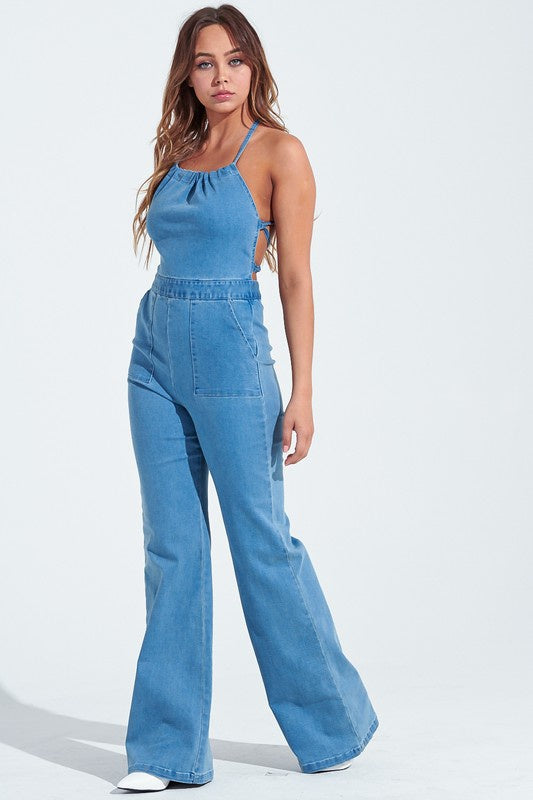 Denim Halter Neck Tie Back Jumpsuit