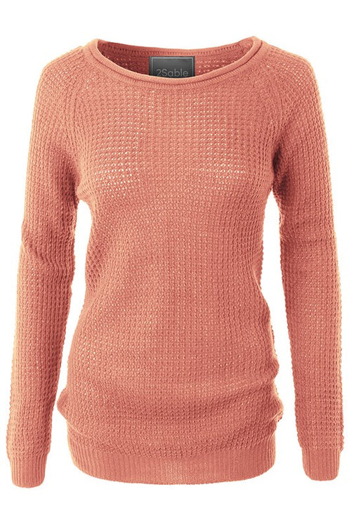 2Sable Round Neck Waffle Knit Pullover Sweater - Mauve