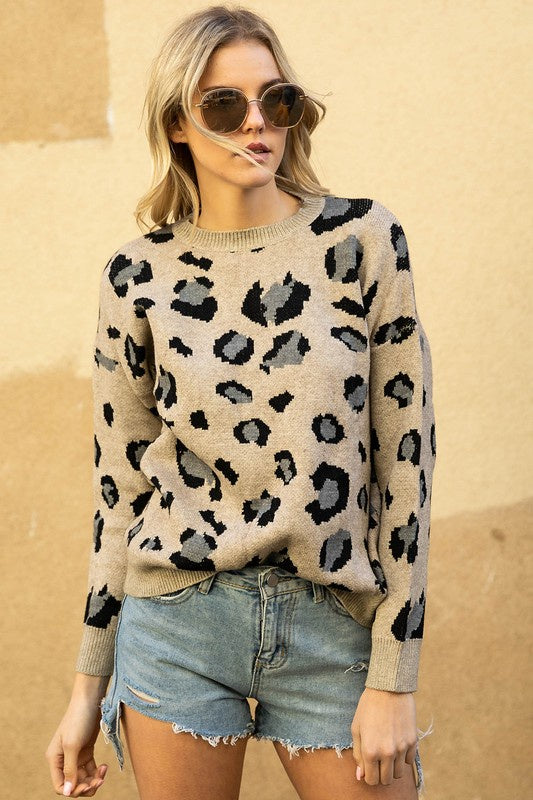 Davi & Dani Animal print cozy sweater - Oatmeal