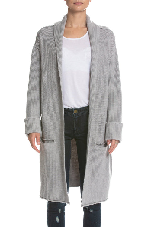 Elan Long Sweater Cardigan - Heather Grey