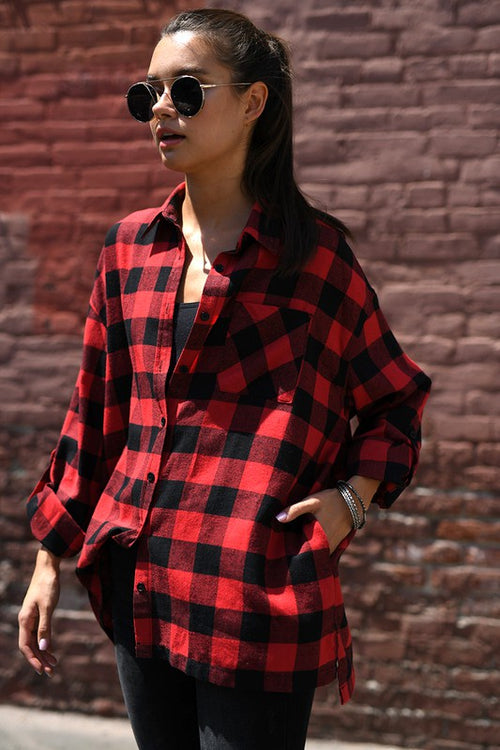 Red Plaid Oversize Shirt with Side Pockets