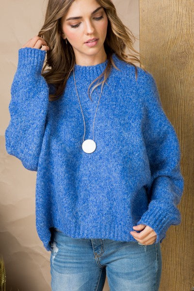 Blue Hi Low Crew Neck Dolman Sleeve Sweater