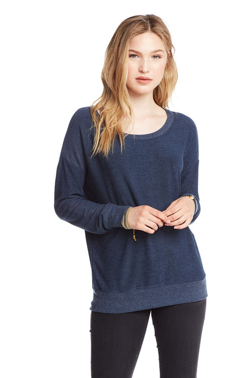 Chaser Cozy Knit L/S Crew Neck Dolman Sweatshirt - Canopy (Navy)