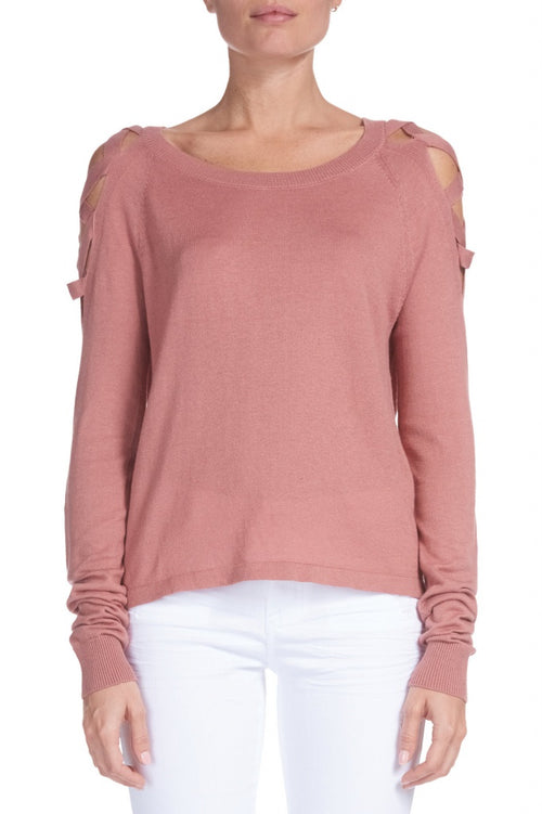 Elan Lace Up Cold Shoulder Sweater - Salmon