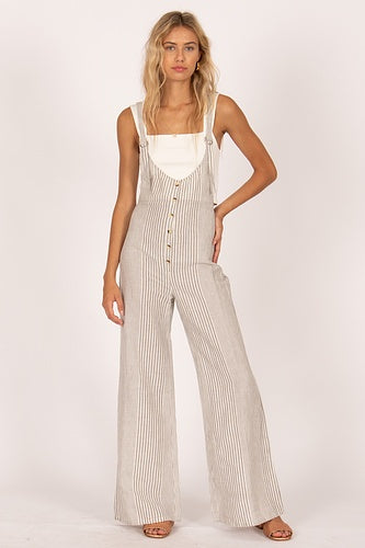Amuse Fina Overall Woven Jumpsuit - Grey Stripe