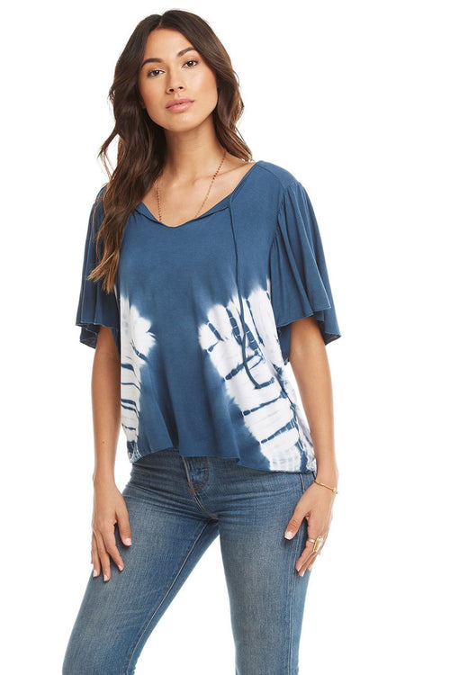 Chaser Cool Jersey Flounce Sleeve Top w/Tie's, Tie Dye