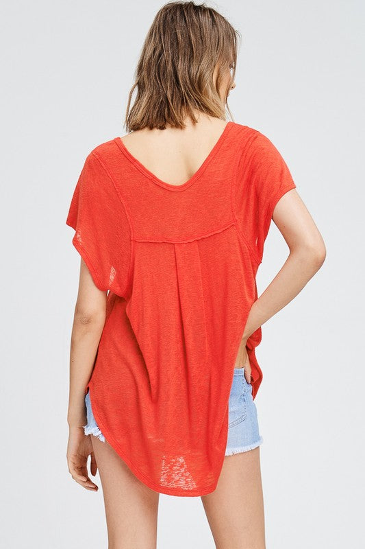 Red Side Stitch Top - Ella J Boutique