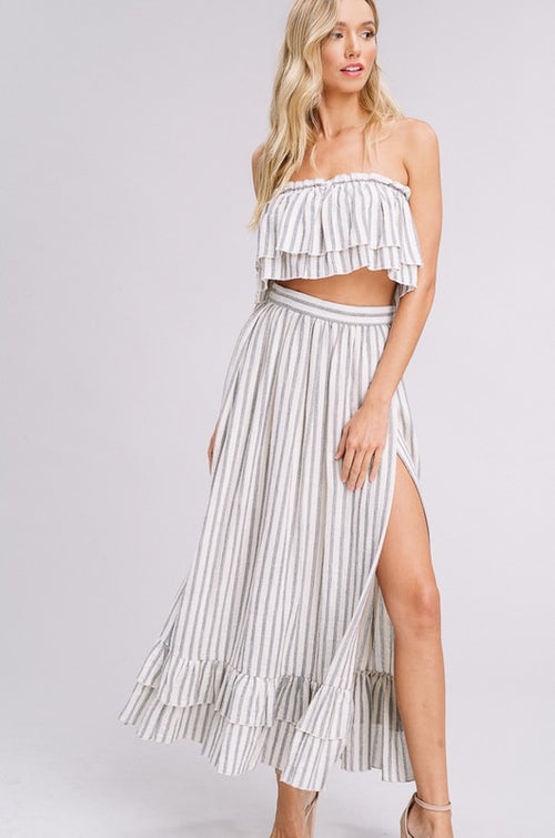 Striped Woven Layer Top & Skirt Set